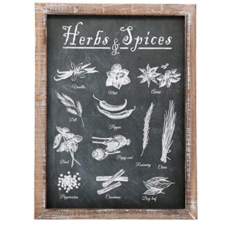 Barnyard Designs Vintage Herb and Spices Chalkboard Art Wood Framed Plaques, Primitive Country Farmhouse Home Decor Sign 16