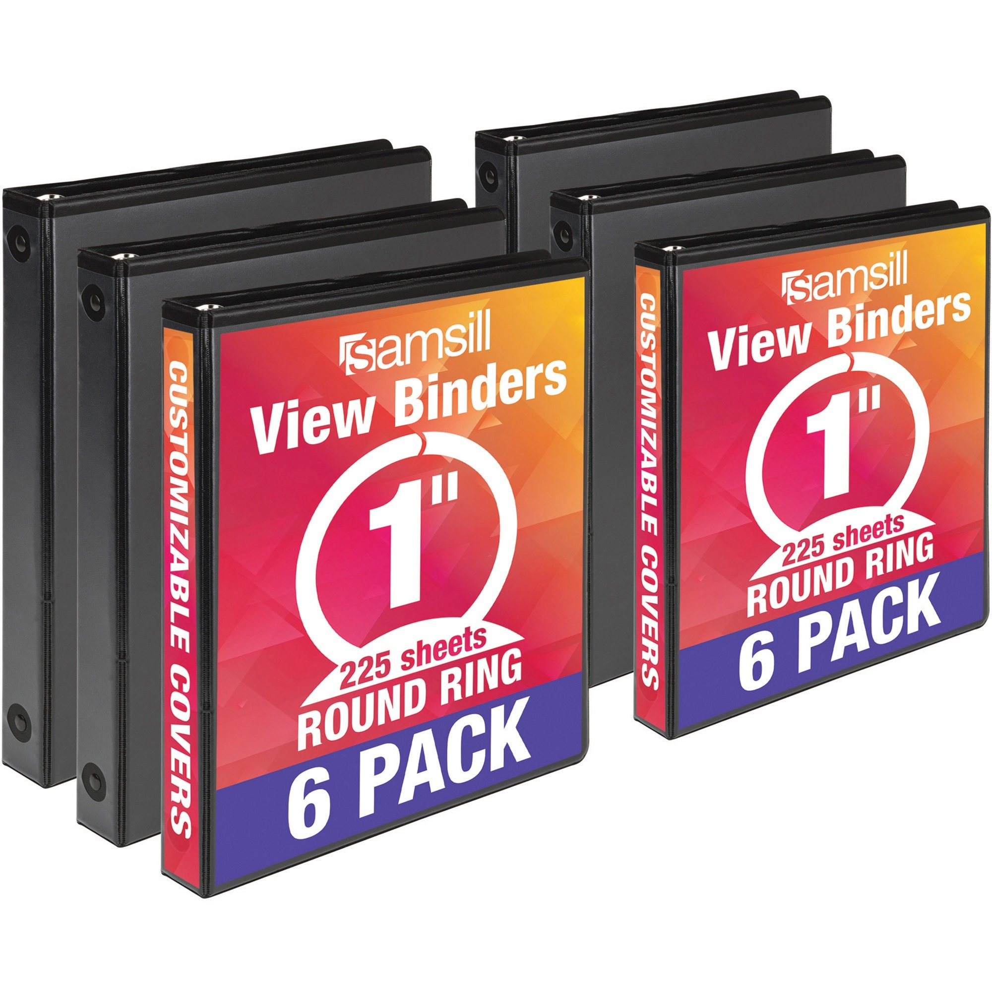 Samsill Value Round Ring View Binder, 6 / Carton (Quantity)
