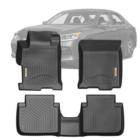 Honda Accord Trunk Liner (Floor Mats 2 Row Liner Set Black for 2013-2017 Honda Accord Sedan Super Duty Crew Cab with 1st Row Bucket Seats)