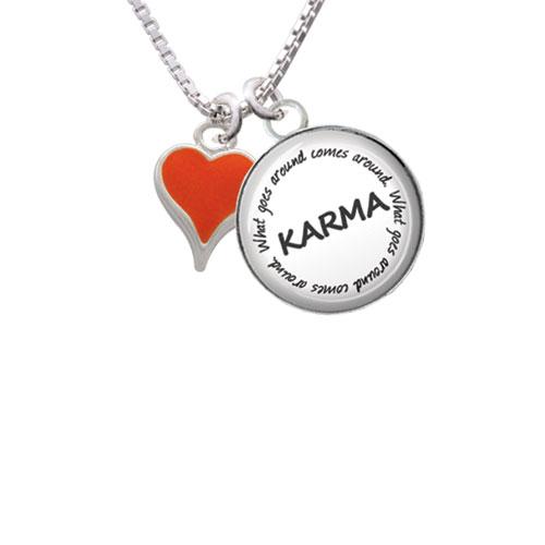 "Small Long Orange Heart Karma Glass Dome Necklace, 18""+2"""