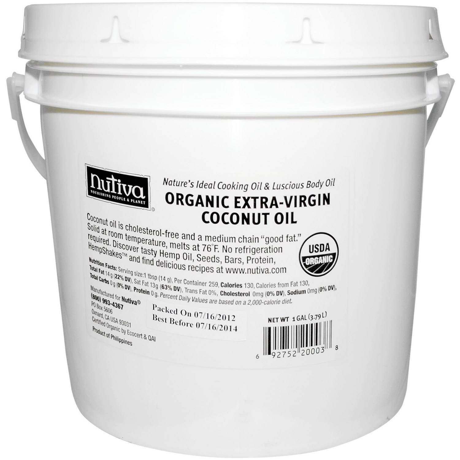 Nutiva Organic Extra-Virgin Coconut Oil, 1 gal