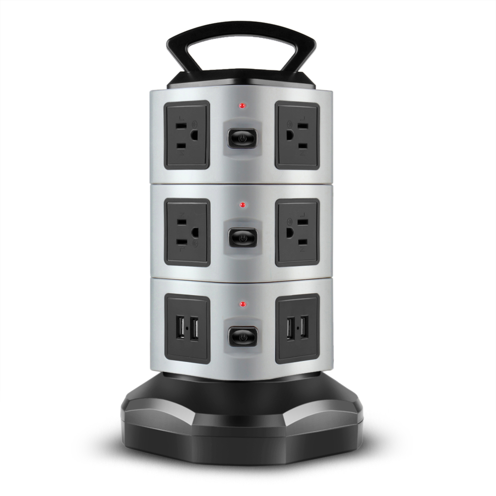 Power Strip with USB Surge Protector - 10 AC Outlet + 4 USB Port Charger Charging Station Power Supply Adapter Multi Socket Plug Powerstrips Bar Stand Tower, Individual Switch, 6FT Extension Cord
