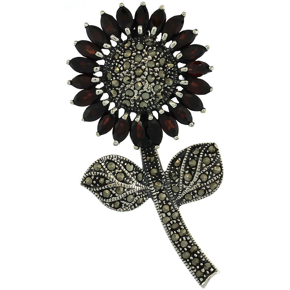 Sterling Silver Marcasite Large Sunflower Brooch Pin w  Marquise Cut Garnet Stones, 2 1 2 inch (62 mm) tall by WorldJewels