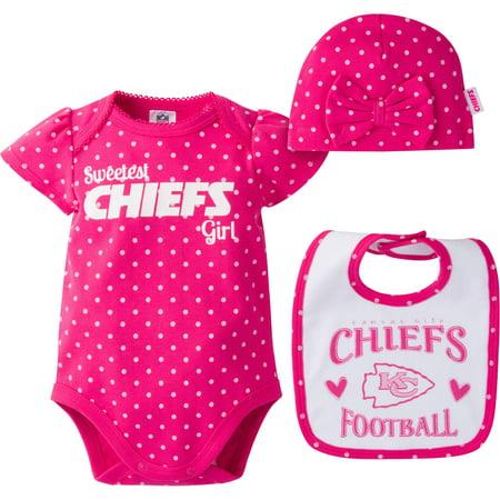 size 40 20936 21cae NFL Kansas City Chiefs Baby Girls Bodysuit, Bib and Cap Outfit Set, 3-Piece