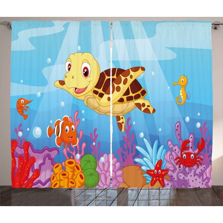 Turtle Curtains 2 Panels Set, Funny Adorable Cartoon Style Underwater Sea Animals Baby Turtle and Fish Collection, Window Drapes for Living Room Bedroom, 108W X 96L Inches, Multicolor, by Ambesonne