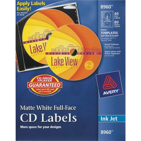 Avery Inkjet Full-Face CD Labels, Matte White, 40/Pack ()
