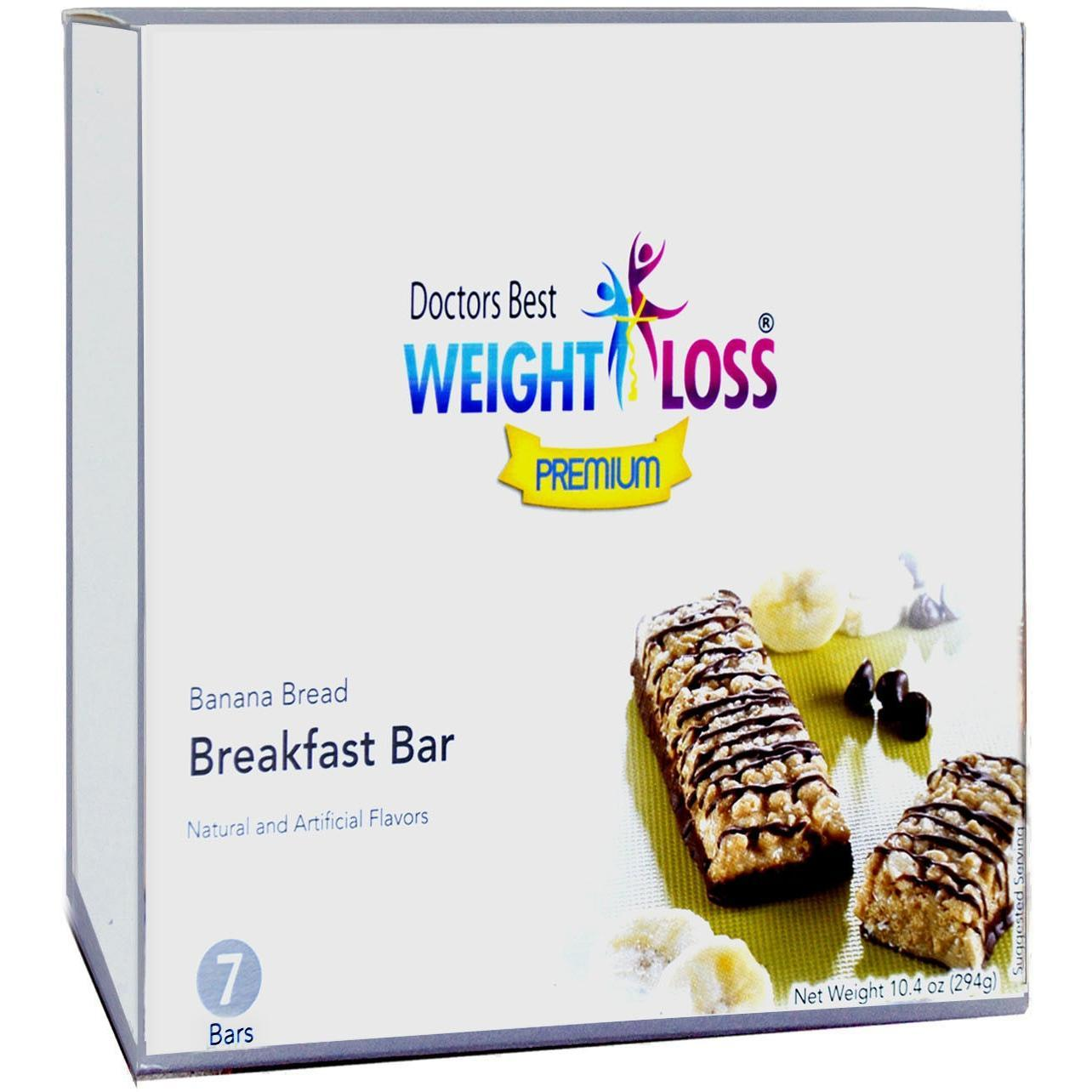 Doctors Best Weight Loss Premium - High Protein Diet Breakfast Bar |Banana Bread| Low Calorie, Low Sugar, High in Fiber (7/Box)