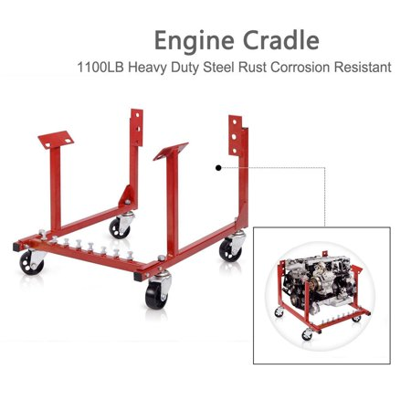 Ktaxon Auto Engine Cradle Stand for Chevy Chevrolet Dolly Mover Repair Rebuild w/Wheels