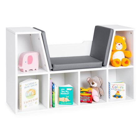 Best Choice Products Multi-Purpose 6-Cubby Kids Bedroom Storage Organizer Bookcases Shelf Furniture Decoration with Cushioned Reading Nook, White ()