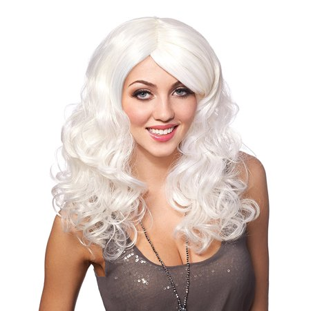 Platinum White Curly Party Girl Anime Womens Rave Cosplay (Women's Wigs For Sale)