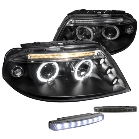 Spec-D Tuning For 2001-2005 Volkswagon Passat Clear Dual Black Halo Projector Headlights + 8 Led Fog Lamps (Left + Right) 2001 2002 2003 2004 2005