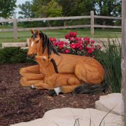 Motherly Love Pony Foal and Mare Horse Statue