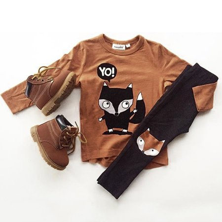 Infant Toddler Baby Kids Boy Animal T-shirt Tops Tees +Long Pants Outfits Set Clothes - Animal Outfits