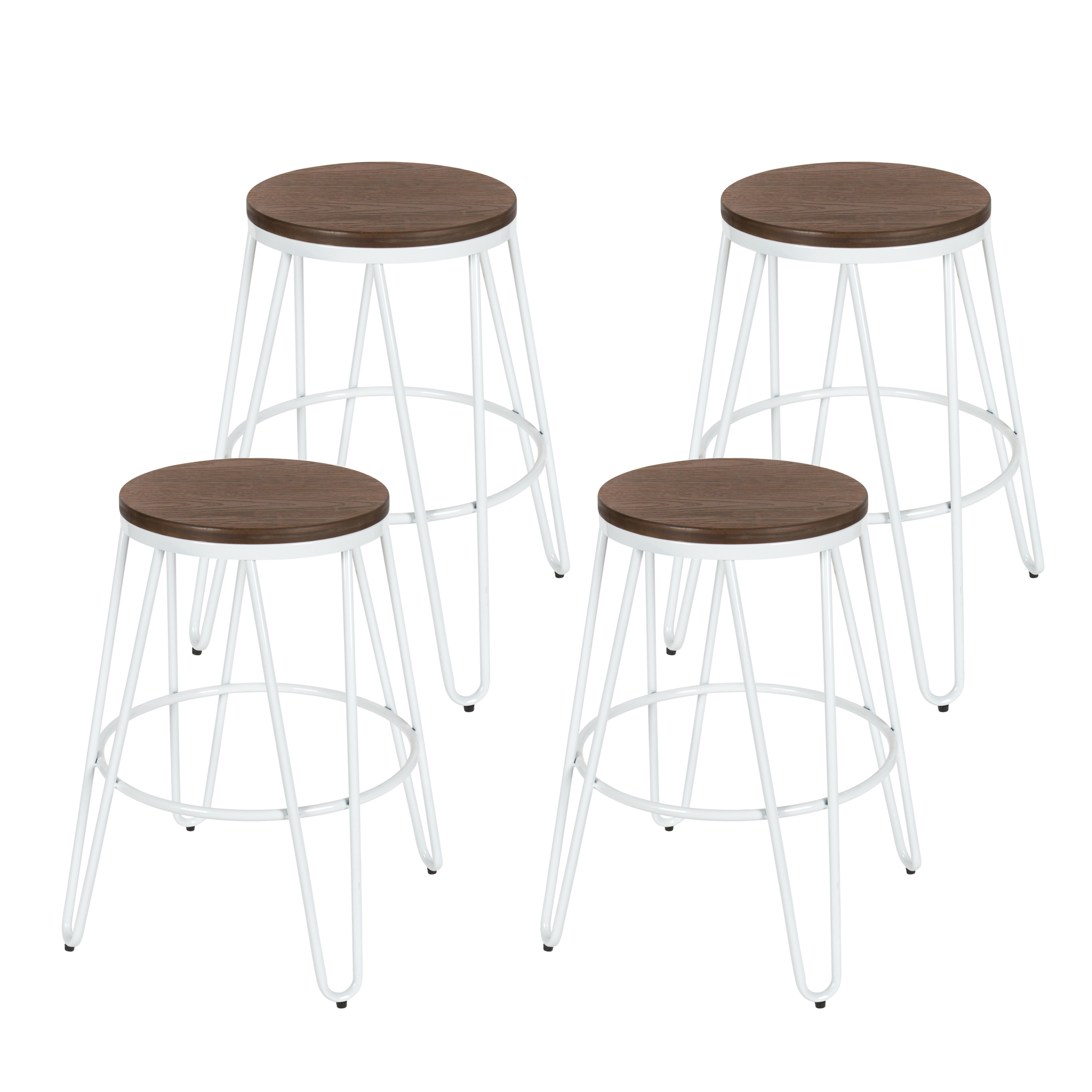 "Kate and Laurel Tully Backless Modern Wood and Metal 24"" Counter Height Bar Stools, Set of 4, Gray with Wood Seat"