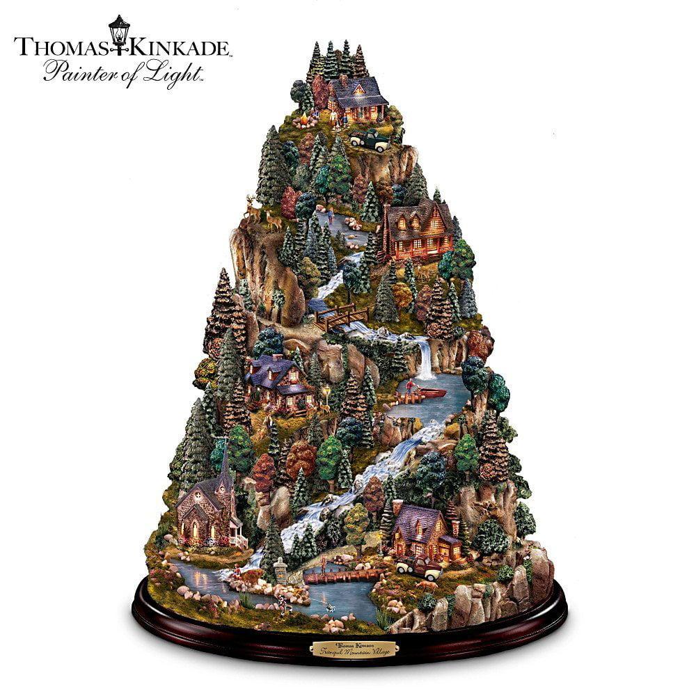 Thomas Kinkade Tranquil Mountain Village Tabletop Tree Re...