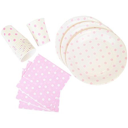 Just Artifacts Disposable Party Tableware 44 Pieces Polka Dot Pattern Dining Set (Round Plates, Cups, Napkins) - Color: Baby Pink - Decorative Tableware for Parties, Baby Showers, and Life - Polka Dot Cups And Plates