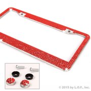 Red Bling Glitter Crystal RhineStone Bling License Plate Frame Car Truck Auto