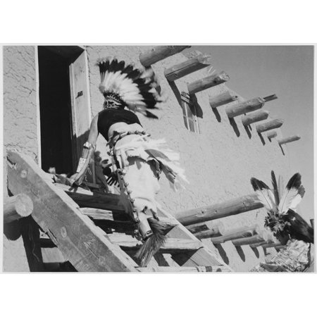 Dance San Ildefonso Pueblo New Mexico 1942 two Indians in headdress ascending stairs to house 1942 Poster Print by Ansel Adams