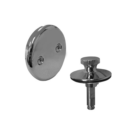 Two-Hole Overflow Plate Trim Kit with Chrome Plated Lift and Turn Stopper,PartNo