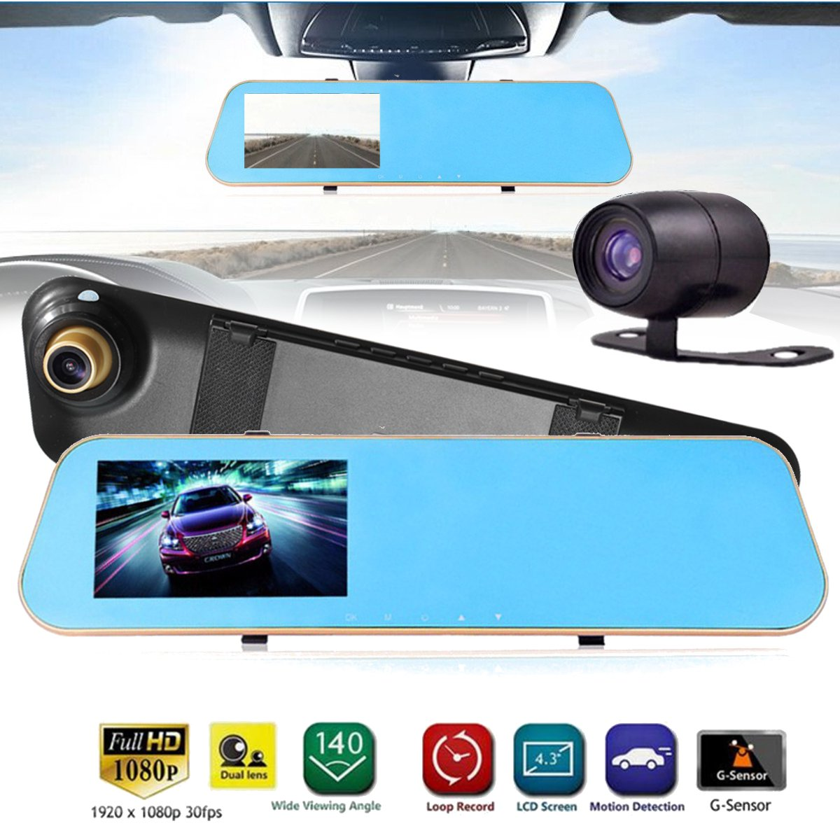 4.3  Dual Lens Car DVR Camera Rearview Reverse Mirror Backup Camera 1080P Full HD Dash Cam Video Recorder Night Vision, Parking Mointor G-sensor Motion Detection