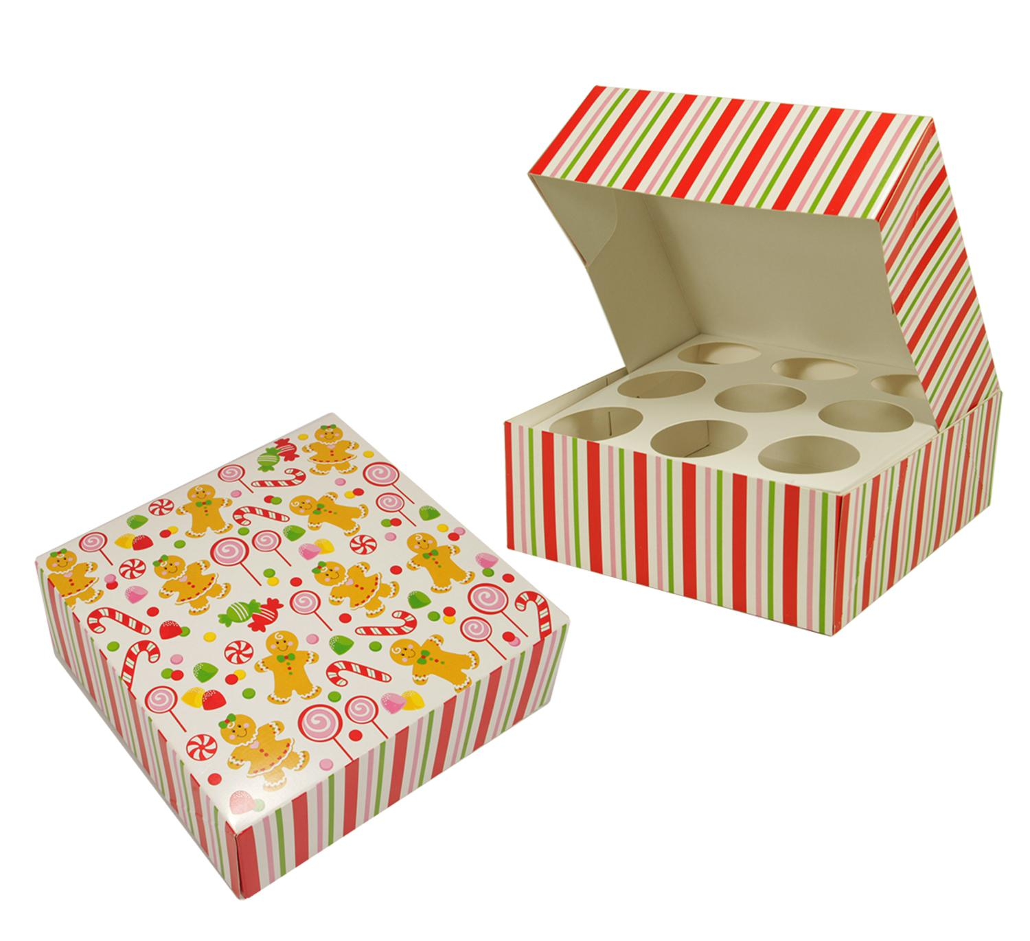 Party Central 12 Peppermint Candy and Gingerbread Sweets Christmas Cupcake Gift Box