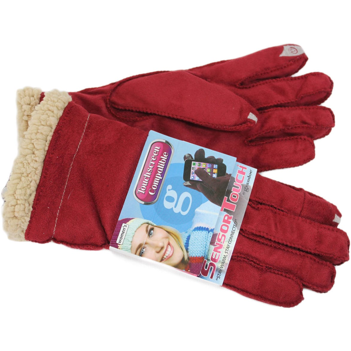 Grandoe Women's Red Cozy Lamb Suede Sensor-Touch Texting Gloves, Medium