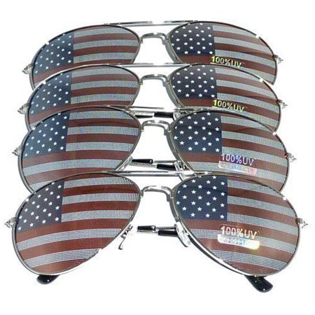 Sterling Silver Sunglasses - 4 PAIRS of Silver Frame US Aviator USA American Flag Print Sunglasses United States Patriot