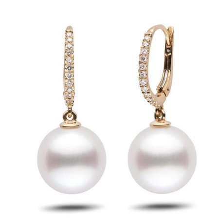 Harry Chad Enterprises 32380 14K Yellow Gold Freshwater Pearl 12 mm & Diamonds Dangle Earrings ()