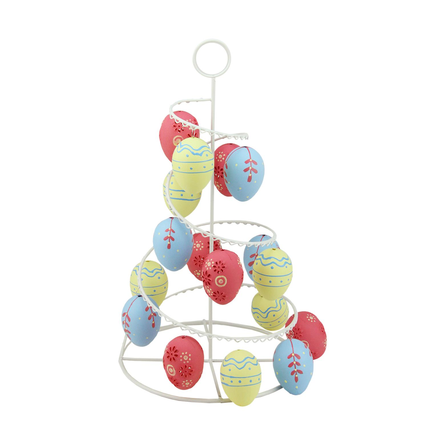"14.25"" Pastel Yellow Blue and Pink Floral Cut-Out Spring Easter Egg Tree by Northlight"