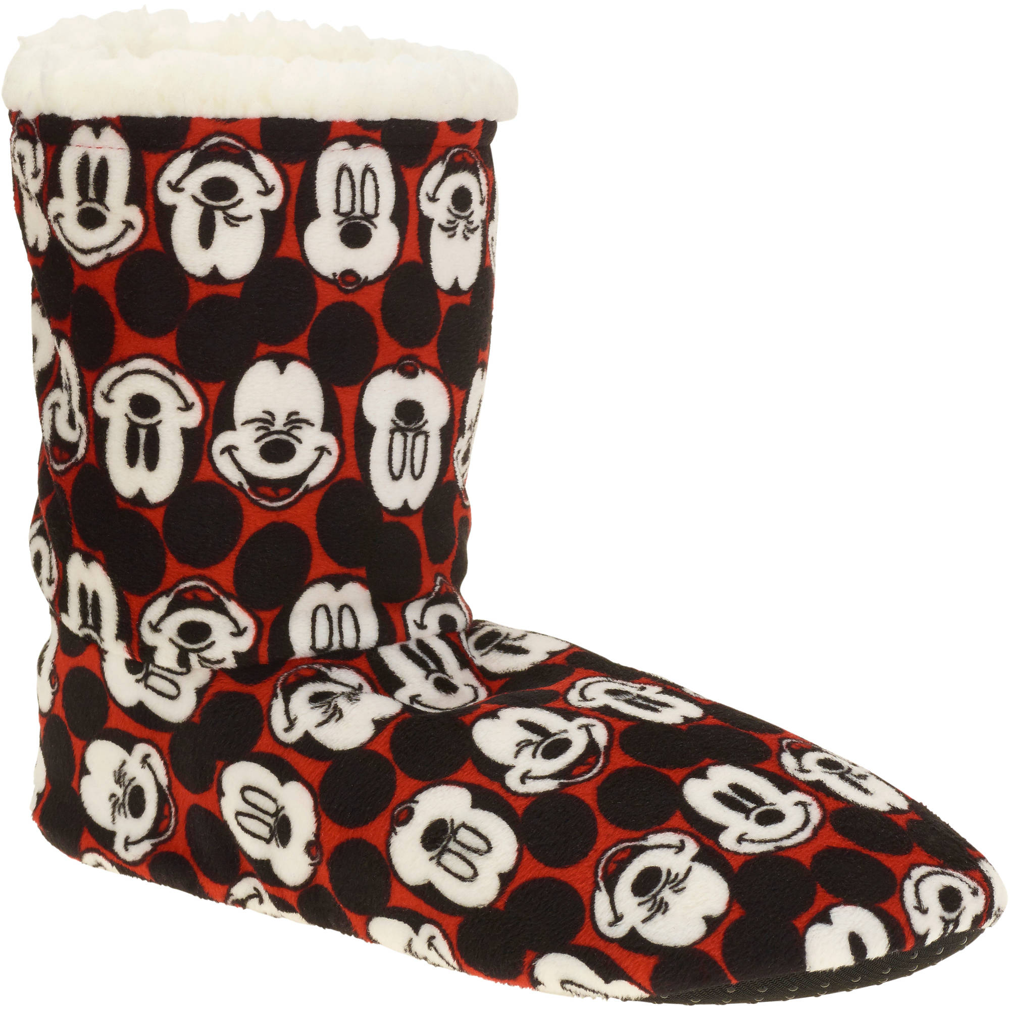 Silky Suede Fuzzy Babba Mickey Mouse Printed Bootie Slipper Socks
