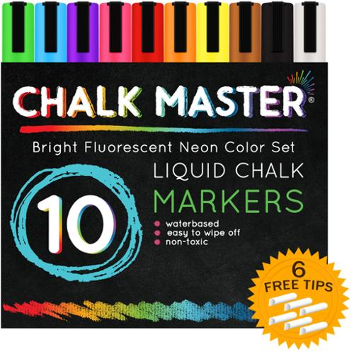 10 Color 6mm Chalkmaster Liquid Chalk Markers Neon Pen Set + 6 Reversible Tips