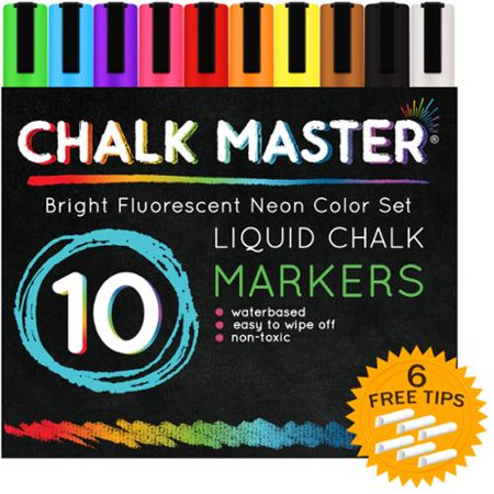 10 color 6mm chalkmaster liquid chalk markers neon pen set 6 reversible tips