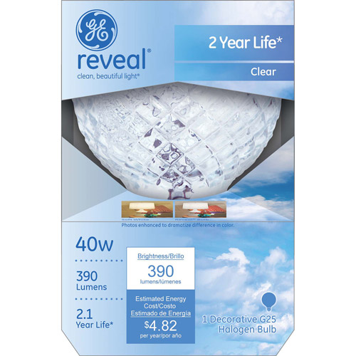 GE Reveal 40-Watt Crystal Clear G25 Decorative Halogen Globe, 1-Pack