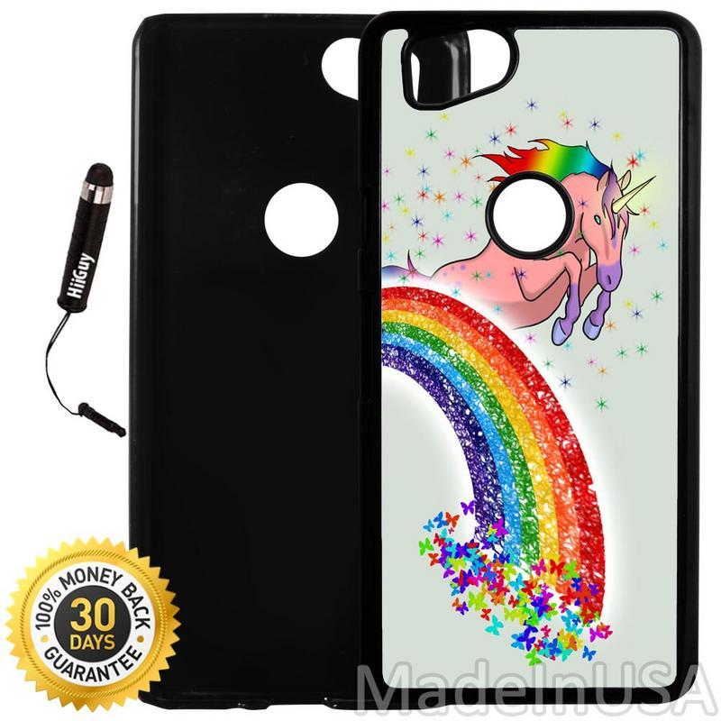 Custom Google Pixel 2 Case (Butterfly Rainbow Unicorn) Plastic Black Cover Ultra Slim | Lightweight | Includes Stylus Pen by Innosub