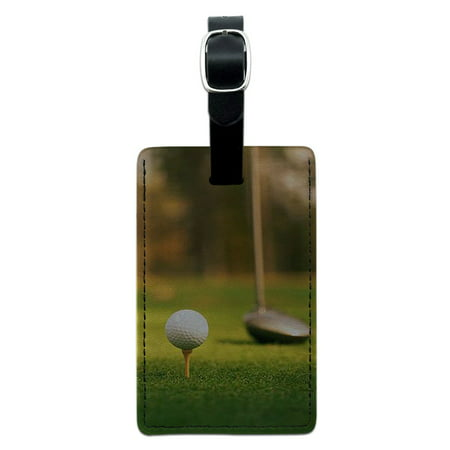 Club Tag - Graphics and More Golf Ball Club - Golfing Rectangle Leather Luggage ID Tag