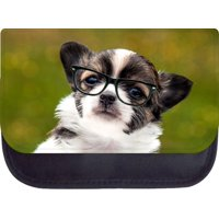 """Chihuahua in Glasses Print Design - 5"""" x 8.5"""" Black Multi-Purpose Cosmetic Case - with 2 Zippered Pockets and Nylon Lining"""