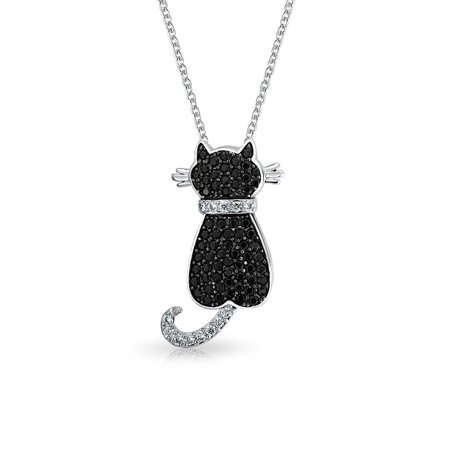 Blank Brass Plates (Pave Black CZ Sitting Cat Pendant Rhodium Plated Necklace 18)
