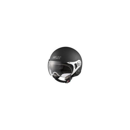GLX 104-MB-M DOT European Open Face Motorcycle Helmet, Matte Black, Medium