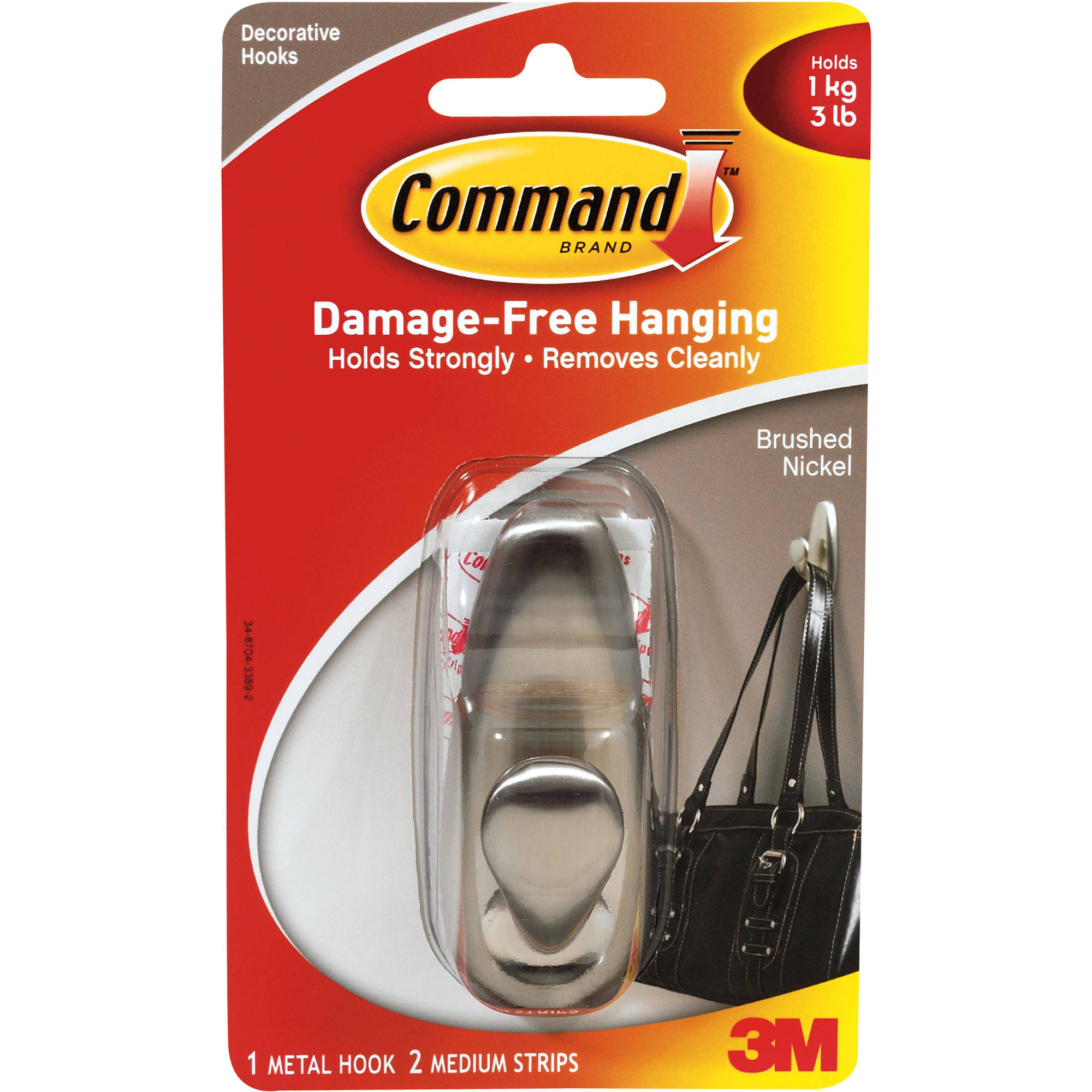 Command Medium Forever Classic Hook, Brushed Nickel, 1 Hook, 2 Strips