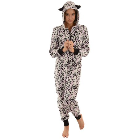 904e3a0d01a3 Totaly Pink - Womens Hooded Zip Up Onesie Pajamas Black White Pink ...