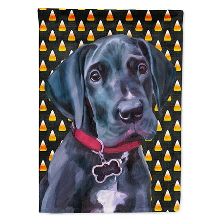 Black Great Dane Puppy Candy Corn Halloween Flag Canvas House Size](Great Dane Horse Halloween)
