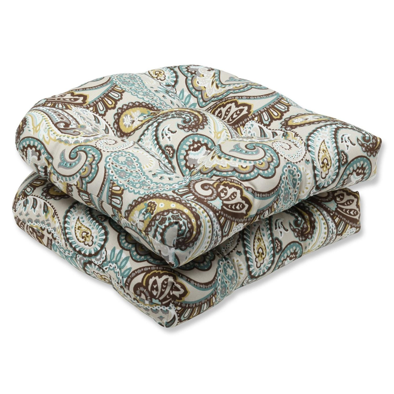 """Set of 2 Paisley Giardino Light Blue and Brown Outdoor Patio Wicker Chair Cushions 19"""""""