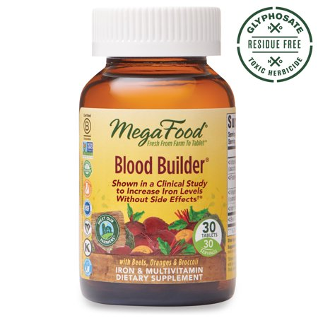 MegaFood - Blood Builder - Daily Iron Supplement and Multivitamin - Supports Energy and Red Blood Cell Production Without Nausea or Constipation - Gluten-Free - Vegan - 30 tablets (30