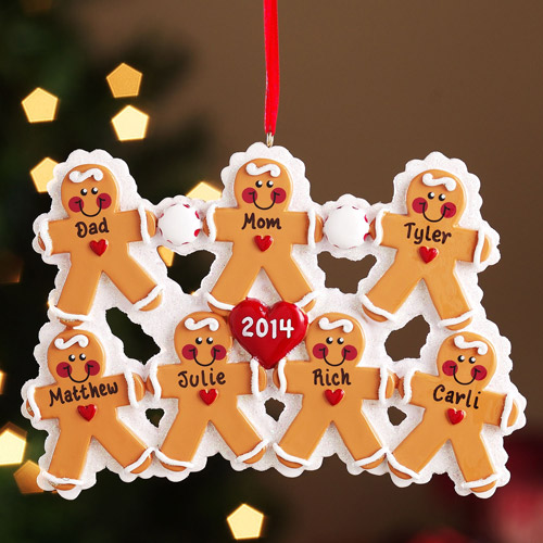 Personalized Gingerbread Family Christmas Ornament, 7 Gingerbread