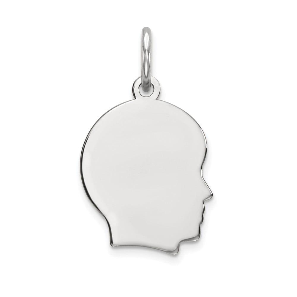 14k White Gold Plain Small Facing Right Engravable Boy Charm Pendant