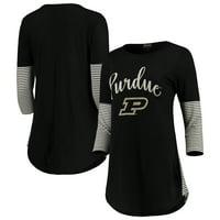 Purdue Boilermakers Women's Striking in Stripes Tunic Tri-Blend Shirt - Black