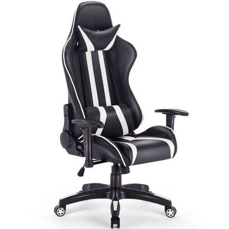 Outstanding Ghp 300 Lbs Black White Pvc Leather Swivel Adjustable Seat Armrest Gaming Chair Forskolin Free Trial Chair Design Images Forskolin Free Trialorg