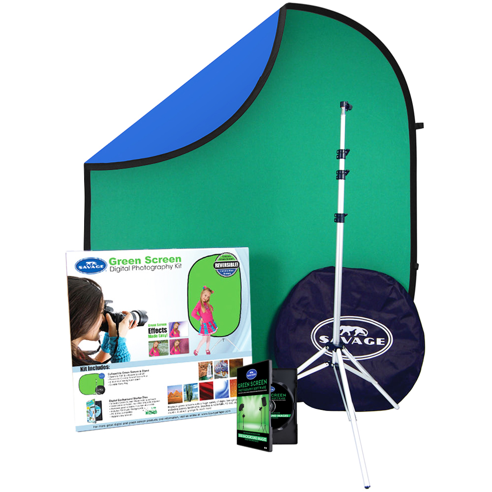 Savage DPK100 Green Screen Digital Photography Kit includes: Chroma Key  Background, Software, 3500 Digital Backgrounds, Stand & Case