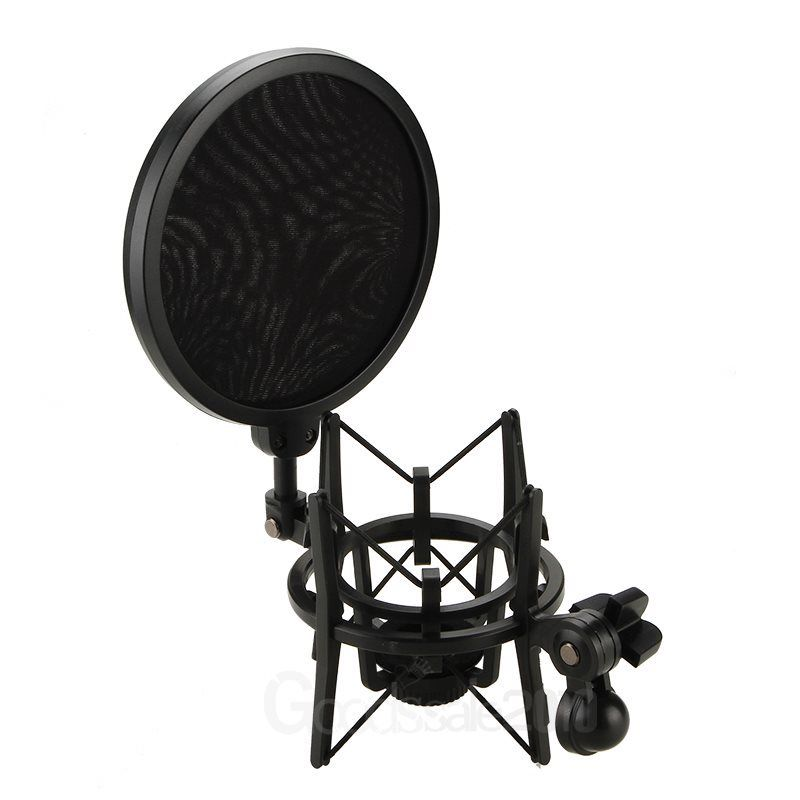 Condenser Mic Microphone Shock Mount Holder With Big Integrated Pop Filter