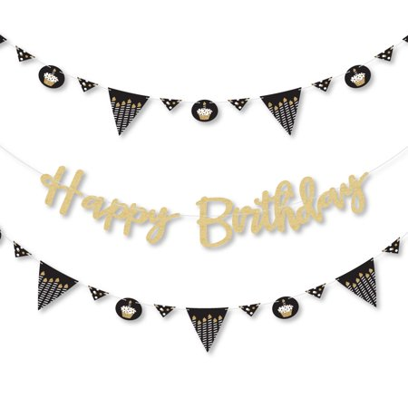 Adult Happy Birthday - Gold - Birthday Party Letter Banner Decoration - Real Gold Glitter Happy Birthday Banner Letters
